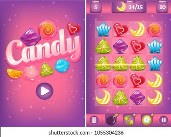 Vector match three candy game with start screen and field including background, settings, clock, bomb and colorful candies