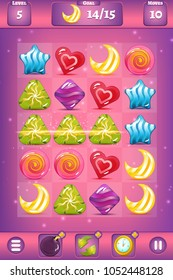 Vector match three game interface with background, boosters - clock, bomb, and exchange, settings, goal, level, and moves with sweet candies of different forms