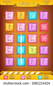 Vector match three game interface with background, menus, bar, level and square colorful stones with rune symbols as game elements.