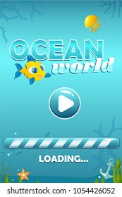 Vector match three ocean world game with start screen including background, loading bar, fish, jellyfish, anchor and starfish
