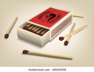 Vector Matchbox and Matches. Illustration.