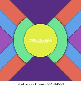 Vector material design background. Abstract creative concept layout template. For web and mobile app, paper art illustration, style blank, poster, booklet. Motion wallpaper element. Flat ui.