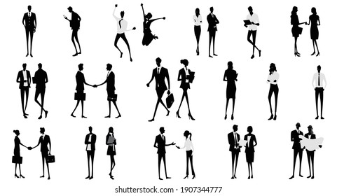 Vector material: silhouettes of people, people
