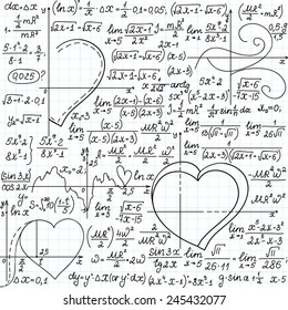 "Vector mathematical seamless pattern with formulas and plots of hearts, ""handwritten on a copybook paper"""