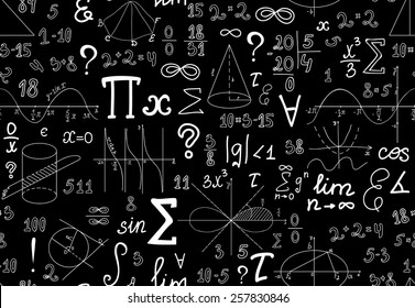 Vector mathematical seamless texture with various mathematical signs, figures and handwritten numbers