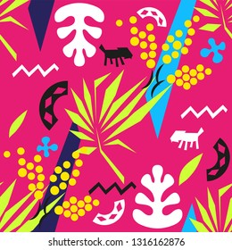 Vector Matisse inspired seamless pattern, colorful design, vector illustration