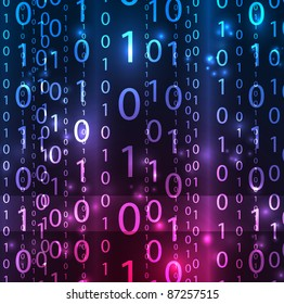 Vector matrix background. Numeral lines in the dark