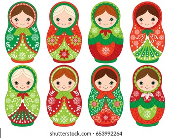 Vector matryoshka set in red and green color, traditional Russian dolls. Vector Russian nesting dolls. Babushka doll clipart. Vector Christmas matreshka,. Vector illustration.
