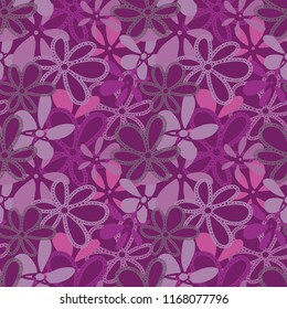 Vector mauve elegant Garden Tea Party textured floral coordinate seamless, layered pattern background. Perfect texture for fabric, scrapbooking, giftwrap,  wall paper projects, stationary, quilting