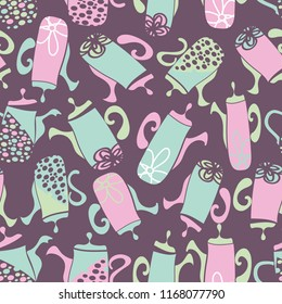 Vector mauve, pink, green and blue garden tea party seamless teapot pattern background. Perfect for fabric, scrap-booking, gift-wrap, wall paper projects, stationary, quilting