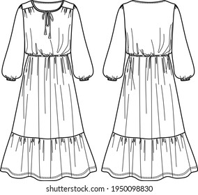 Vector maxi bohemian dress fashion CAD, woman flared round neck long dress technical drawing, template, sketch, flat, mock up. Jersey or woven fabric dress with front, back view, white color