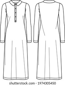 Vector maxi dress sketch, long sleeved with polo neck dress technical drawing, fashionable women CAD, flat. Jersey or woven fabric long dress with front, back view, white