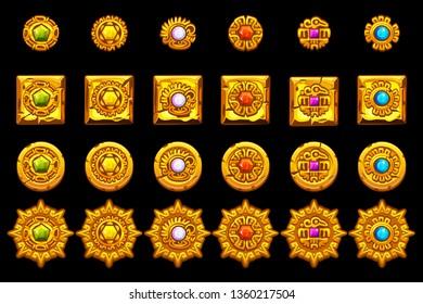Vector Maya icons. American aztec, mayan culture golden symbols.