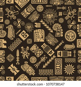 Vector maya seamless pattern. Maya design concept for fashion print, backgrounds, greeting cards, holiday package and wrapping.