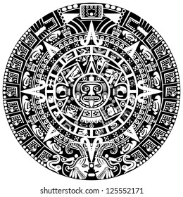 Vector of Mayan calendar on white background