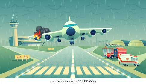 Vector mayday landing of the plane on a strip near of terminal. Crash of flight in bad weather, wing in fire. Ambulance, firefighter cars on asphalt runway, accident case. Danger situation, stress.