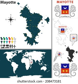 Vector Of Mayotte Set With Detailed Country Shape Region Borders Flags And Icons