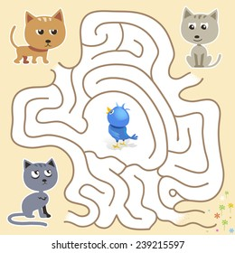 Vector maze game: funny blue bird find the way from the cats trap