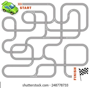 Vector maze game: funny green racing car find the way to finish