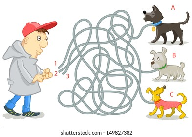 Vector Maze Game: Funny Man Try to Find Tangled Dog's Leashes. Vector Illustration for Kids