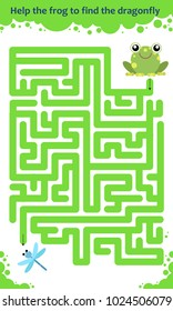 Vector maze game. Help the frog to find the dragonfly. Children educational game