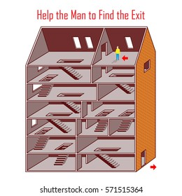 Vector Maze Game: Help the Man to Find the Exit. Abstract Man in Abstract Empty House. Vector Illustration