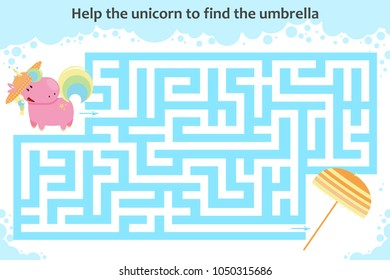 Vector maze game. Help the unicorn to find the umbrella. Children educational game