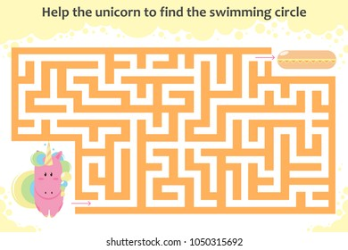 Vector maze game. Help the unicorn to find the swimming circle. Children educational game