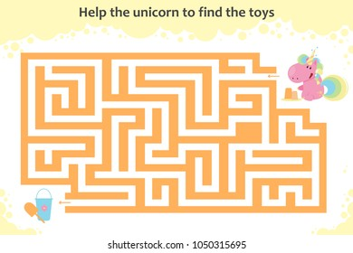 Vector maze game. Help the unicorn to find the toys. Children educational game