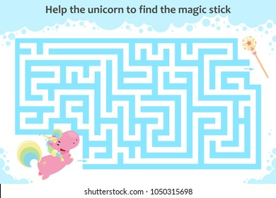 Vector maze game. Help the unicorn to find the magic stick. Children educational game