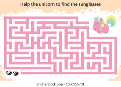 Vector maze game. Help the unicorn to find the sunglasses. Children educational game