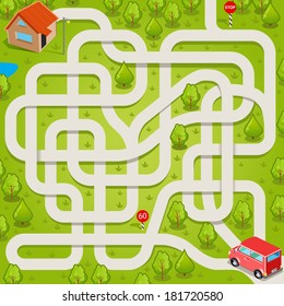 Vector maze game: red car find the way to home