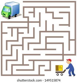Vector Maze game: way for delivery the box to funny truck