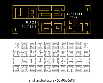 Vector of Maze Puzzle Alphabet Letters and numbers, Linear stylized fonts, Minimal Letters set for labyrinth business concept, Thin Lines Letters set for art design, Labyrinth brain teaser kids game.