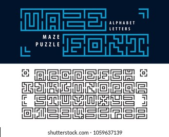 Vector of Maze Puzzle Alphabet Letters and numbers, Linear stylized fonts, Minimal Letters set for labyrinth business concept, Black Lines Letters set for art design, Labyrinth brain teaser kids game.