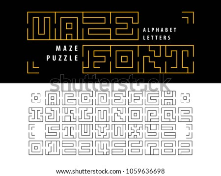 Vector Maze Puzzle Alphabet Letters Numbers Stock Vector Royalty