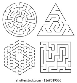 vector maze puzzles collection isolated on white background. abstract labyrinth graphic of round, square, triangular and hexagonal shapes. find a way game illustrations. maze puzzle design