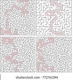 Vector maze set, labyrinth collection pattern with a solution isolated over white background, puzzle concept, maze game