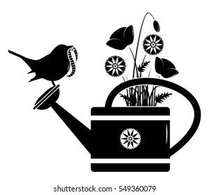 vector meadow flowers in watering can and bird with worm isolated on white background
