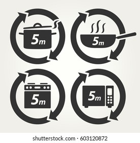 Vector Meal Preparation Icons of Cook in Pot, Fry in Pan, Roast in Oven and Heat in Microwave for 5 Minutes