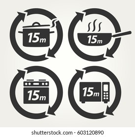 Vector Meal Preparation Icons of Cook in Pot, Fry in Pan, Roast in Oven and Heat in Microwave for