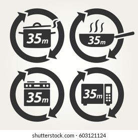 Vector Meal Preparation Icons of Cook in Pot, Fry in Pan, Roast in Oven and Heat in Microwave for 35 Minutes