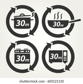 Vector Meal Preparation Icons of Cook in Pot, Fry in Pan, Roast in Oven and Heat in Microwave for 30 Minutes