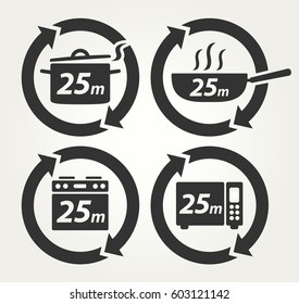 Vector Meal Preparation Icons of Cook in Pot, Fry in Pan, Roast in Oven and Heat in Microwave for 25 Minutes