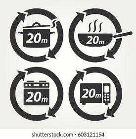 Vector Meal Preparation Icons of Cook in Pot, Fry in Pan, Roast in Oven and Heat in Microwave for 20 Minutes