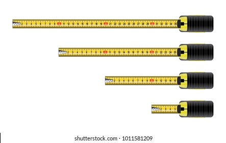vector measure tape meter set isolated on white background. business construction metal equipment  measure tapes with numbers. eps10 illustration