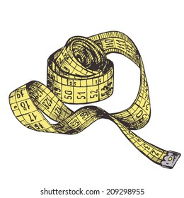 vector measuring tape. Old school isolated sartorial meter