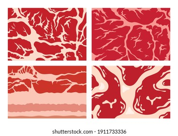 Vector meat background or pattern collection. Beef, pork and lamb meat textures for meat industry, packing, marketing, packaging, etc