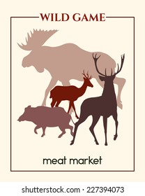 Vector meat market banner with big game silhouettes made in retro style.
