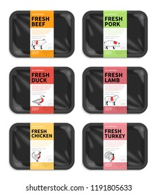 Vector meat packaging. Butchery labels. Black foam meat tray with plastic film mockups.  American (US) cuts of beef, pork, lamb, chicken, duck and turkey diagrams.